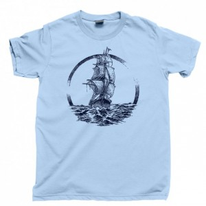 Ship Sailing The Ocean Seas Men's T Shirt, Pirate Ship Captain Boat Sailors Sail Nautical Unisex Cotton Tee Shirt
