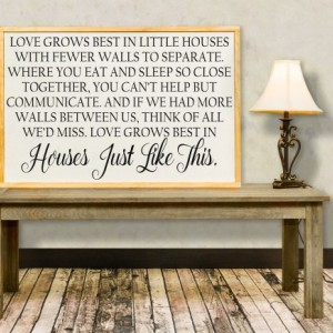 Love Grows Best in Little Houses, Framed Sign, Love Grows in Houses Like This Inspirational Sign, Distressed Sign, Family Together Sign