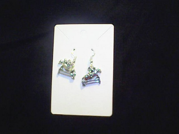 Equestrian Horse Jumping Fence Homemade Earrings. Silver Colored.