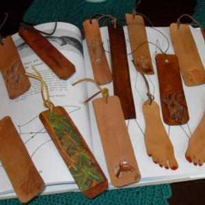 Leather bookmarkers different designs in stock and special orders