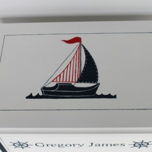 Keepsake chest baby memory box personalized - Nautical Sailboat - baby gift