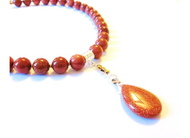 Goldstone Teardrop Pendant Gemstone Shimmer Bead Necklace, Beaded Stone Statement Necklace, Gift for Her, Sparkle Jewelry, Girlfriend Gift
