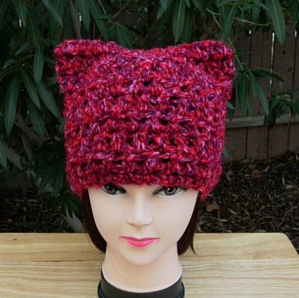 Pussy Cat Hat with Ears, Pussy Hat, Dark Pink Purple Red, Chunky Warm Soft 100% Acrylic Crochet Knit Winter Beanie Women's Rights PussyHat, Ready to Ship in 3 Days