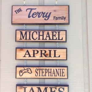 Cedar custom personalized hanging family names sign