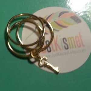 Tiny gold key stacking rings/skeleton key charm rings