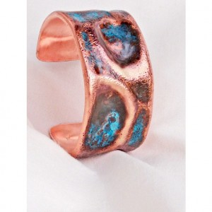 Copper Cuff  Hand Forged Large Dimple Textured Bracelet A