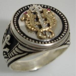 10 Karat Gold Seahorse sterling silver ring