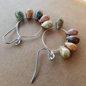 Earthy glass earrings, silver earrings, czech glass teardrops, small hoops,handmade earrings, jewelry,gifts for her, brown,green,red earring