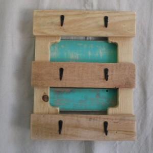 Teal Pallet Wood Mug Holder, Rustic Teal Mug Holder, Teal Pallet Mug Hooks,Pallet Tea Cup Hooks, Rustic Home Decor