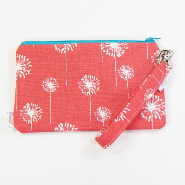 Medium Wristlet Zipper Pouch Clutch - Coral Dandi