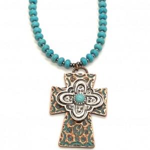 Boho Western Turquoise Cross Necklace