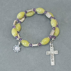 One Decade Rosary Bracelet of Green Serpentine and Amethyst