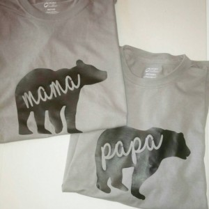 Mama Bear and Papa Bear Couples T-shirts ~ Mom and Dad T shirts ~ His and Hers Shirts for Mom and Dad~  Gift idea for New Moms and Dads
