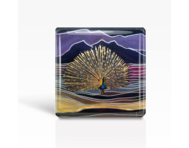 "Mexican Folk Art- PEACOCK - Glass MAGNET By Artist A.V.Apostle- 2""x 2"""