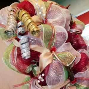 Christmas Wreath Indoor Outdoor Door Decor Golden Antlers Christmas Decoration Rustic Elegant