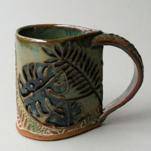 Tropical Foliage Pottery Mug Selloum Philodendron Coffee Cup Handmade Functional Tableware Microwave and Dishwasher Safe 12oz