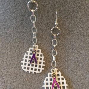 "Guitar Pick ""Waffle"" Earrings with Purple Ribbon"