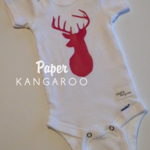 hot pink deer snap bodysuit, 0-3 months, ready to ship