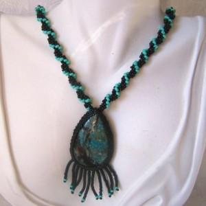 Beadwoven Pendant Natural Rare Turquoise Color Chrysocolla