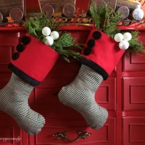 Red, White and Black Stocking, Red Christmas stocking, Black and White Stocking, Red and White Stocking, Christmas Stocking