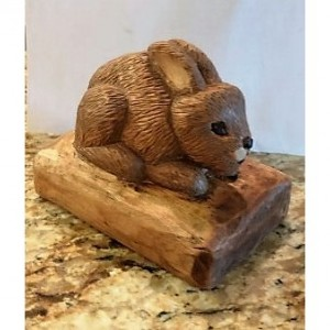 Hand Carved Wood Bunny Woodcarving One of a Kind