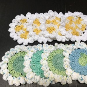 Yellow and White ,Green,Blue Crochet coasters