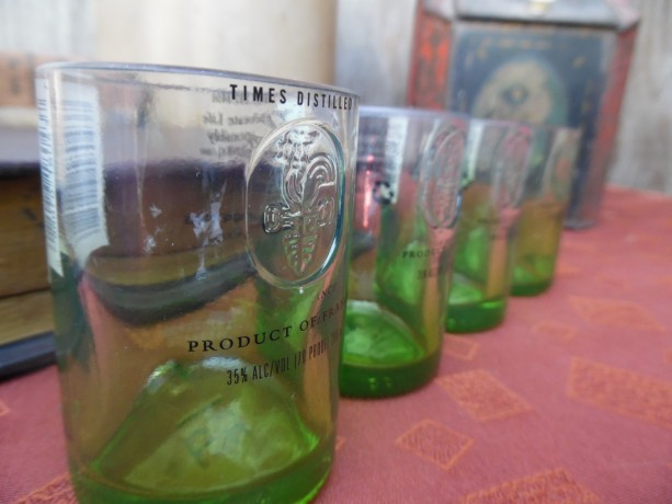 Green Ciroc Bottle Upcycled Shotglasses,  set of 4