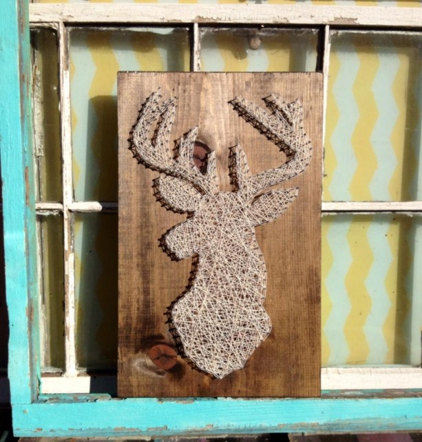 Deer Silhouette String Art on Stained Wood
