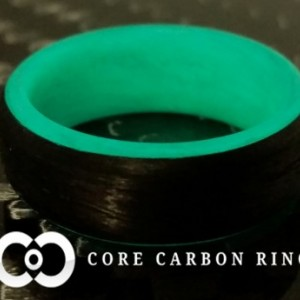 Carbon Fiber Teal Glow Ring