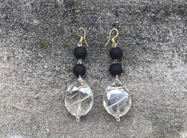 Black Matte Beads with Stone