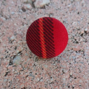 Red w/ Navy Stripes Stud Button Earrings