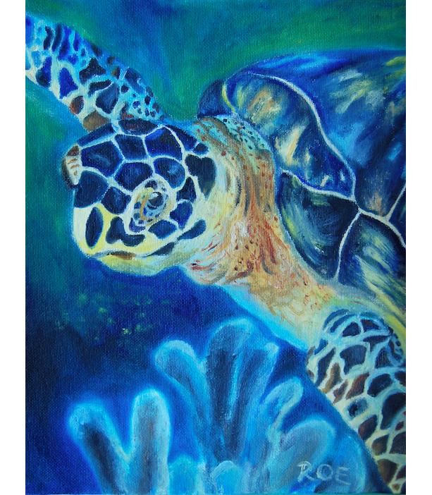 Sea Turtle Oil Painting, Nautical Marine Ocean Painting art, Sea turtle creature