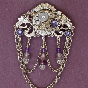 Steampunk Victorian Brooch - Purple