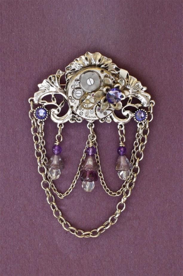 Steampunk Victorian Brooch - Purple