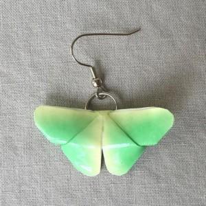 Green & Yellow Origami Butterfly Earrings