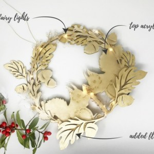 Holiday Wreath, Squirrel LED Wreath, Light Up Christmas Decorations