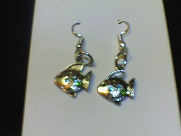 Fish Homemade Earrings Silver in color.