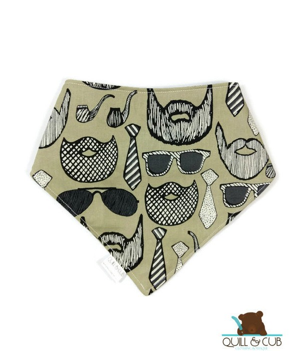 Dark Beige Beard Bibdanas- Beard Bibs- Moustache Bibs- Moustache Clothes- Beard Clothes- Toddler Beard- Baby Beards- Toddler Bibs- Baby Bibs