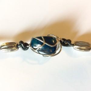Wire wrapped blue polished stone bracelet, leather bracelet