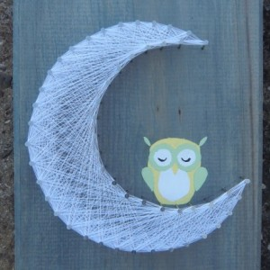 Sleeping Owl on Moon Nursery String Art