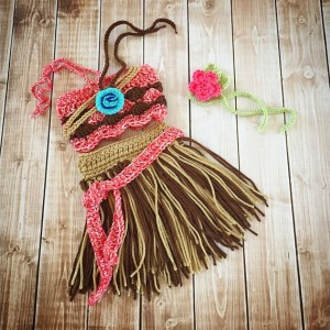 Moana Inspired Costume/Crochet Princess Moana Skirt, Top and Necklace/ Moana/Princess Photo Prop- MADE TO ORDER