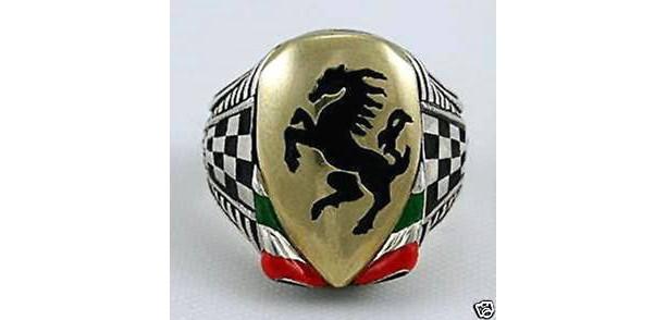 Italian Black Stallion Ring Sterling silver