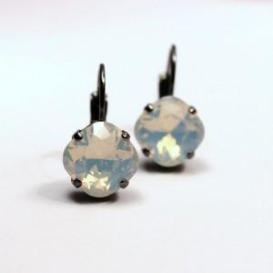 White Opal Swarovski Crystal Leverback Drop Earrings