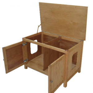 Double-Sided, Divided, Odor Free, Hand Made in USA, Wood Cat Litter Box Cabinet. Hinged Lid. No Assembly Needed. Not MDF