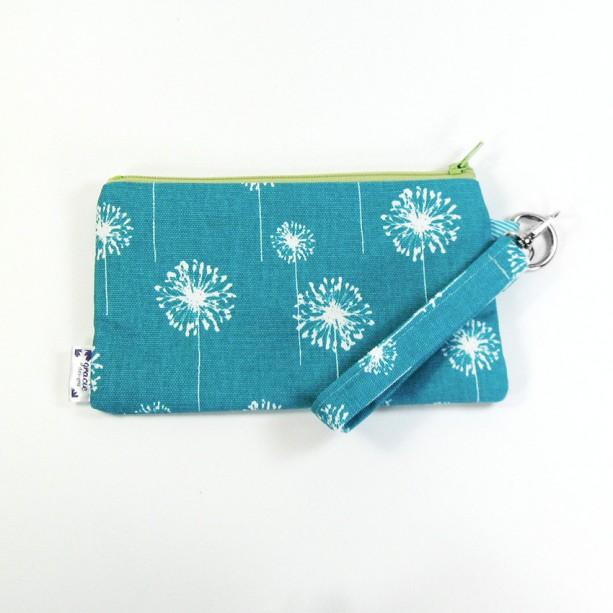 Medium Wristlet Zipper Pouch Clutch - Teal Dandi