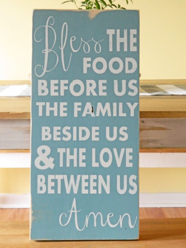 Bless the Food Before Us...Amen -  Distressed Typography Wood Sign - Prayer for the Kitchen - Kitchen Sign - Kitchen Decor