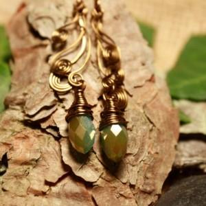 Copper spiral earrings with blue teardrop stone