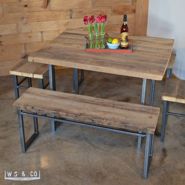 Bench 48 reclaimed wood metal legs aftcra for Barn wood salvage companies