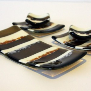 Fused Glass Sushi Set in Bronze Serving Dish 0032
