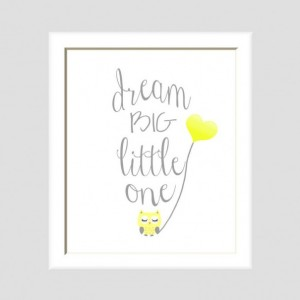 Dream Big Little One Owl Nursery Art